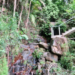 Steps down to a small waterfall at our Digs
